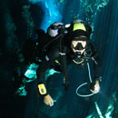 picture of diving Chac-Mool, Cenote
