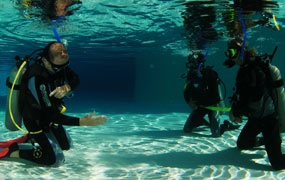 picture of dive training, pool session with Scuba Libre